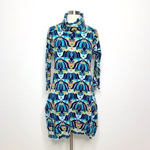 All for Color Abstract Dress Turtleneck Hi Lo (Q3)